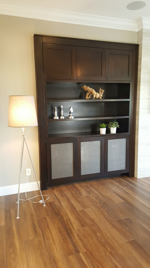 built-in brown cabinet