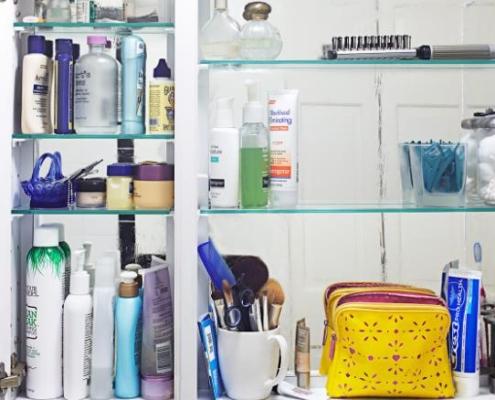 organizing a bathroom cabinet